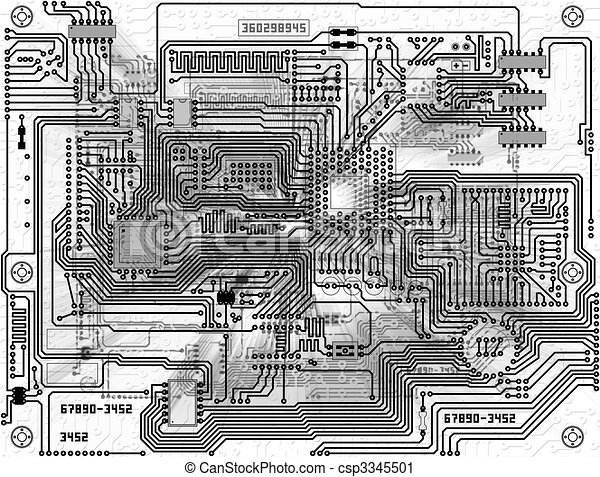 Monochrome abstract background - electronic circuit board ...