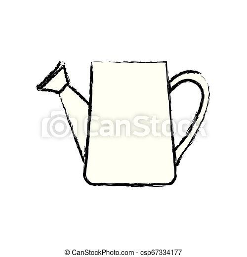 monochrome, arrosage, silhouette, boîte, brouillé - csp67334177