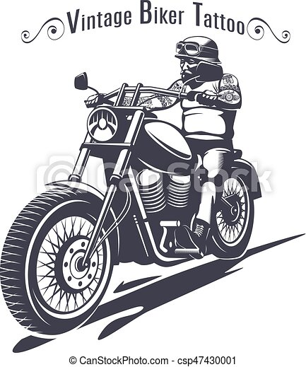 Monochrome Biker Tattoo Template With Inscription And Man  Vector