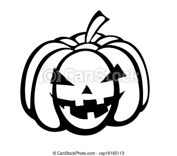 Monochrome black-and-white silhouette of pumpkin festive halloween ...