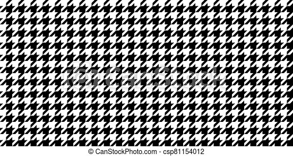 Monochrome Black & White Seamless Houndstooth Pattern Background. Traditional Arab Texture. Fabric Textile Material. - csp81154012