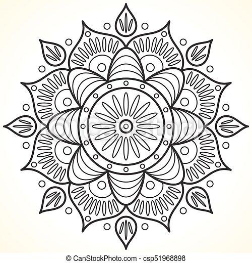 Monochrome contour flower mandala. vintage decorative elements ...