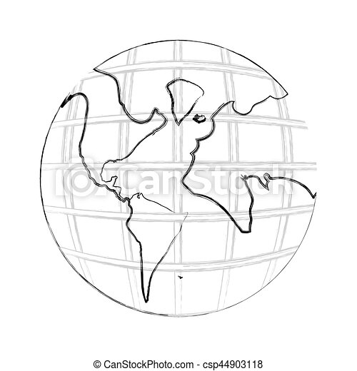 Monochrome contour hand drawing of earth world map with continents monochrome contour hand drawing of earth world map with continents csp44903118 gumiabroncs Images