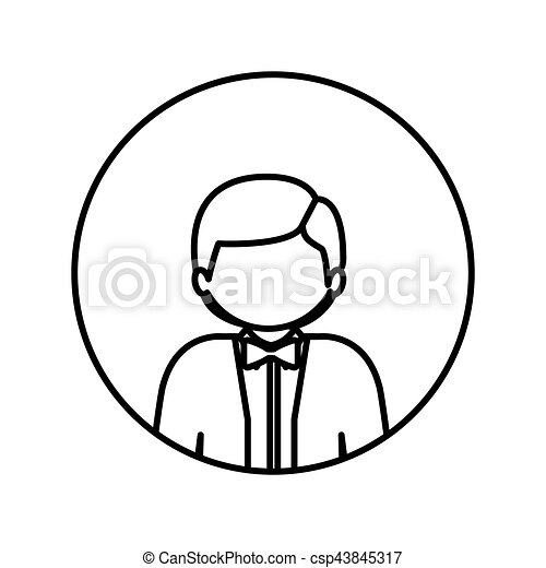 monochrome contour in circle with half body man with bow tie - csp43845317