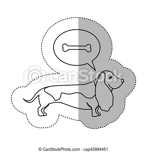 Monochrome Contour Middle Shadow Sticker With Dachshund Dog Thinkin