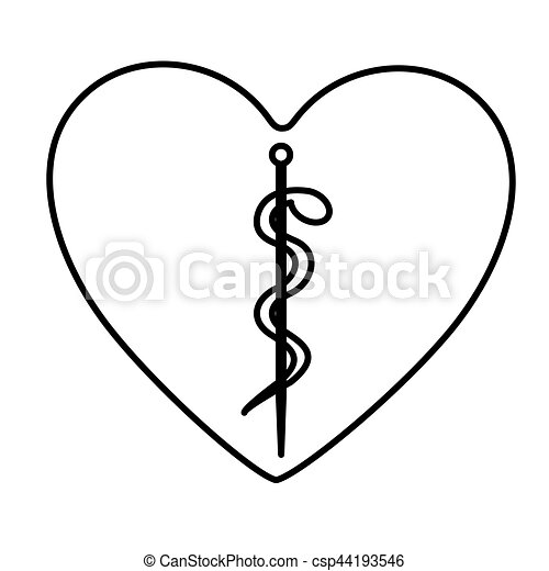 Monochrome Contour Of Heart With Health Symbol With Serpent Entwined