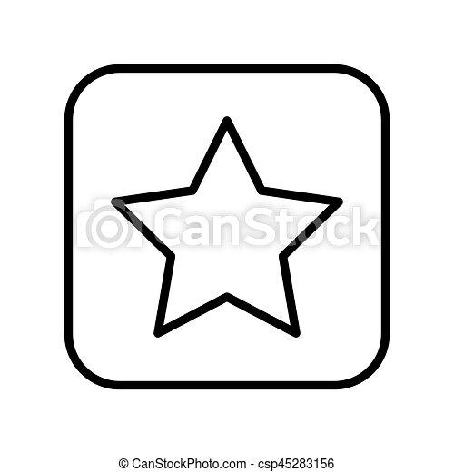 monochrome contour square with star icon - csp45283156