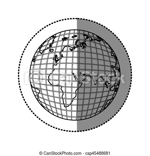 Monochrome contour sticker with world map vector vector monochrome contour sticker with world map vector gumiabroncs Images