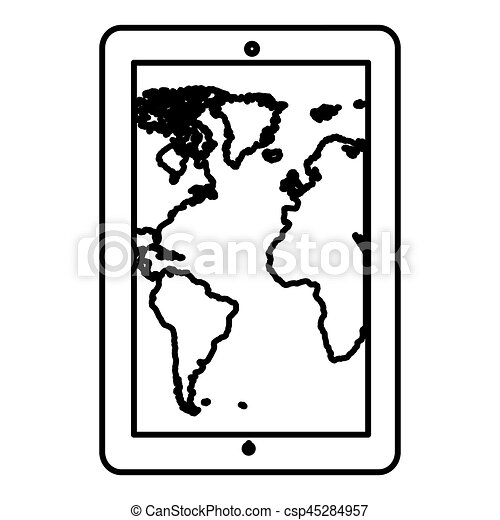 Monochrome contour tablet in vertical position and world map monochrome contour tablet in vertical position and world map wallpaper vector illustration gumiabroncs Image collections