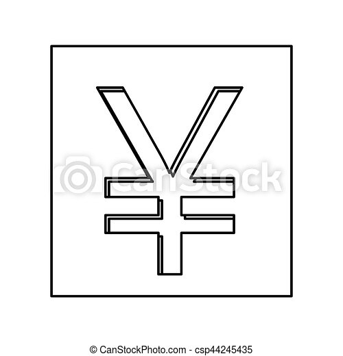 Monochrome Contour With Currency Symbol Of China In Square Vector