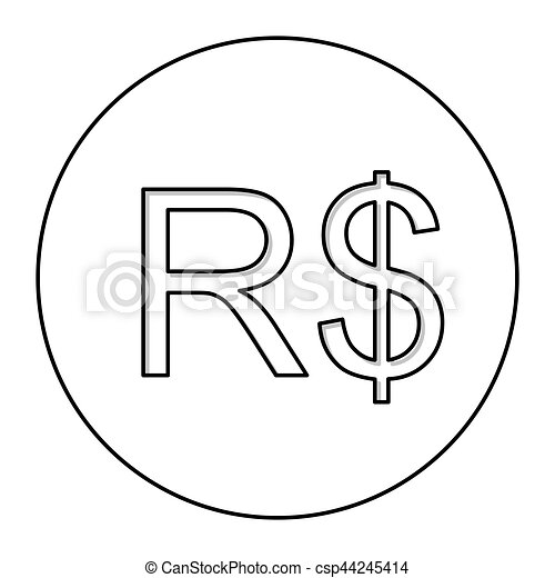 Monochrome Contour With Currency Symbol Of Brazilian Real In Circle