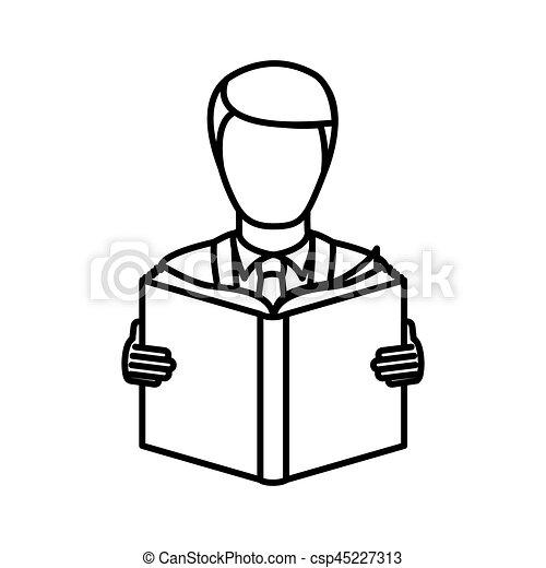 monochrome contour with man reading a book - csp45227313