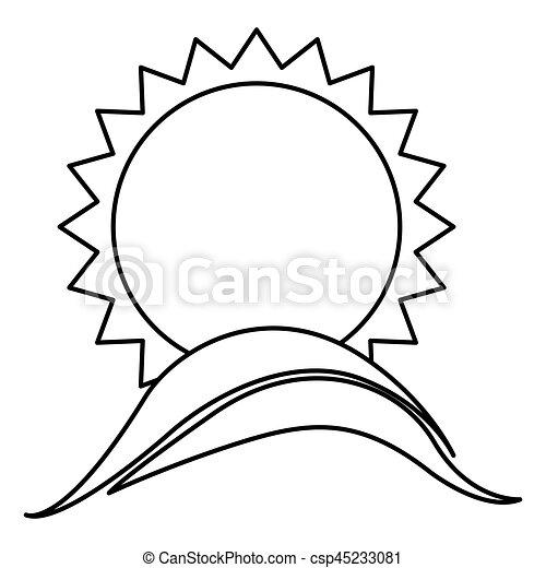 Monochrome Contour With Sun Over Hill Vector Illustration