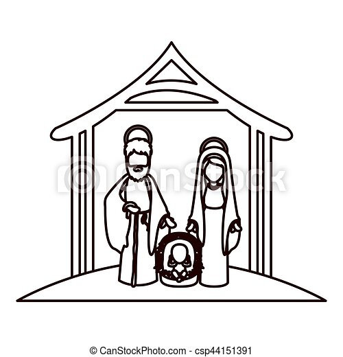 monochrome contour with virgin mary and saint joseph and eps rh canstockphoto com manager clipart free manger clipart free