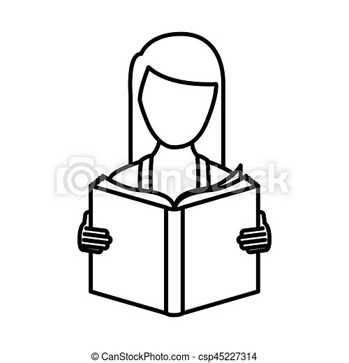 monochrome contour with woman reading a book - csp45227314