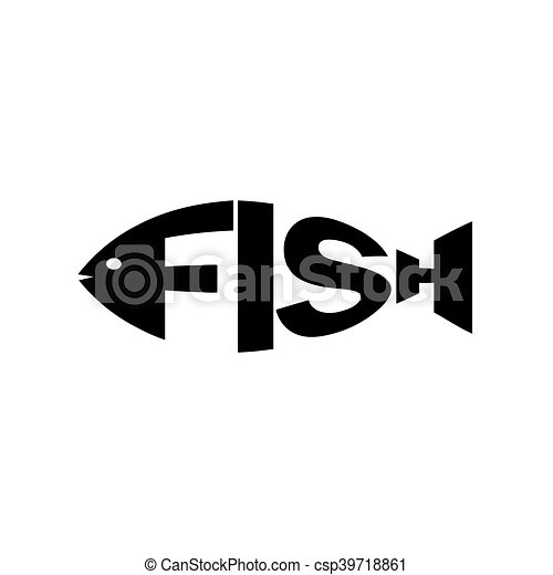 Monochrome Fish Text Monochrome Fish Stylized A Silhouette With The