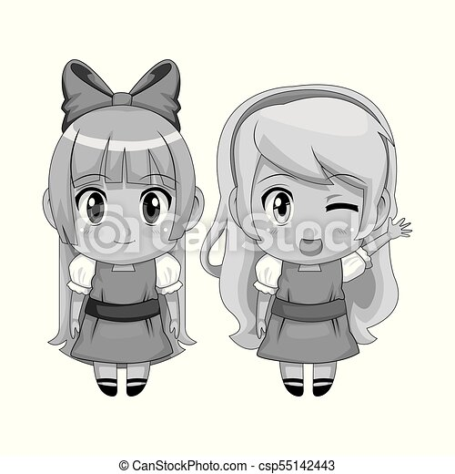 Monochrome Full Body Couple Cute Anime Girl Facial Wink Expression And Smile