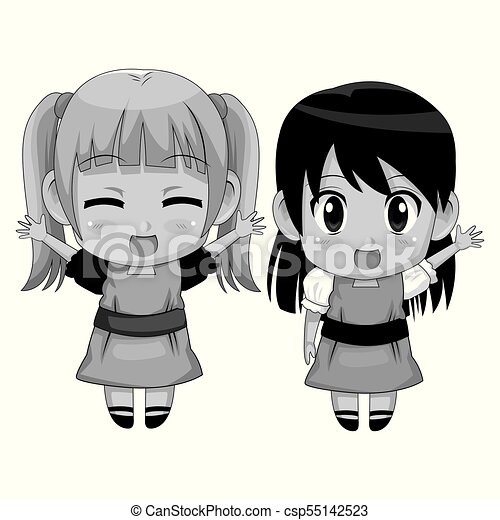Monochrome Full Body Couple Cute Anime Girl Facial Expression Smile And Greeting