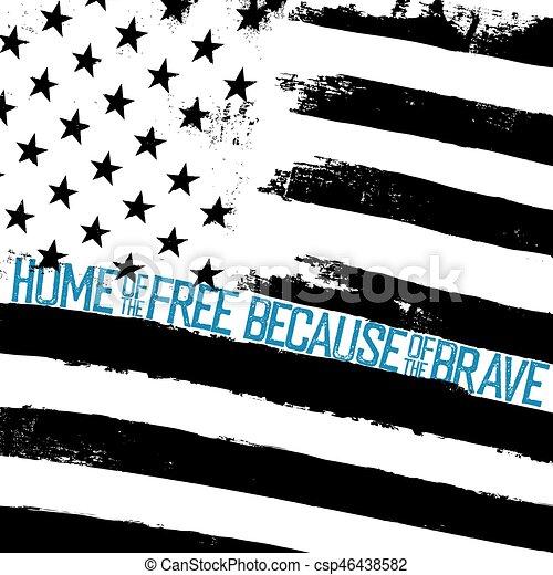Monochrome Grunge American Flag Background Patriotic Design