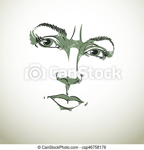 Monochrome hand-drawn portrait of white-skin doubtful woman, face features and emotions theme illustration. Angry lady with wrinkles on her forehead posing on white background. - csp46758176