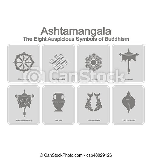 Monochrome Icons Set With Eight Auspicious Symbols Of Buddhism For