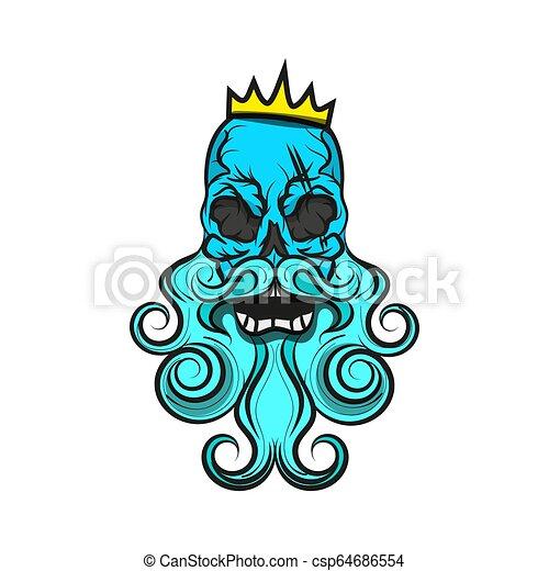 Monochrome illustration of hipster skull - csp64686554