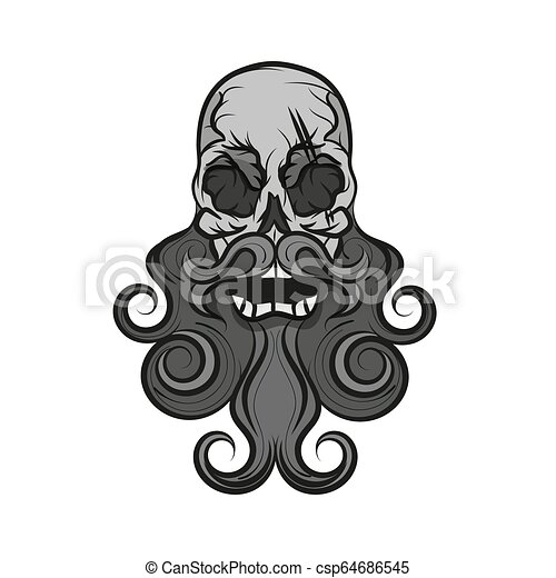 Monochrome illustration of hipster skull - csp64686545