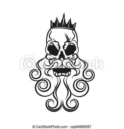 Monochrome illustration of hipster skull - csp64686587