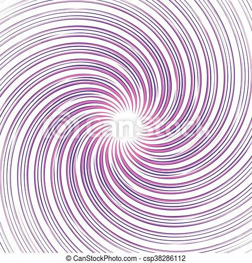 (monochrome), kleurrijke, achtergrond., abstract, pattern., ronddraaien, lijnen, warped, radiaal, kolken, omwenteling, vervormd, spiraal - csp38286112