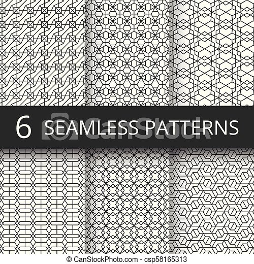 Monochrome Line Geometrical Vector Seamless Patterns Delicate Simple Wallpaper Repeat Texture Set