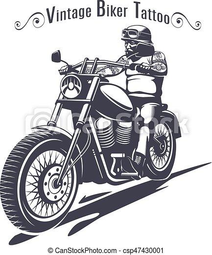 Monochrome motard gabarit tatouage inscription style - Dessin de motard ...