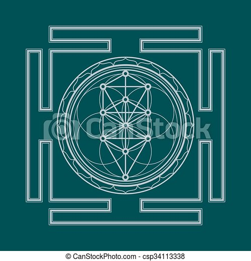 Monochrome Outline Tree Of Life Yantra Illustration Vector Silver