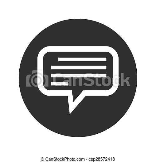 monochrome round text message icon image of chat bubble with text
