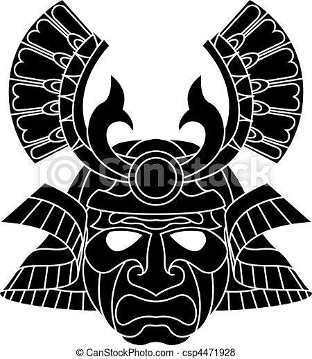 monochrome samurai mask. an illustration of a fearsome monochrome samurai  mask. | canstock  can stock photo
