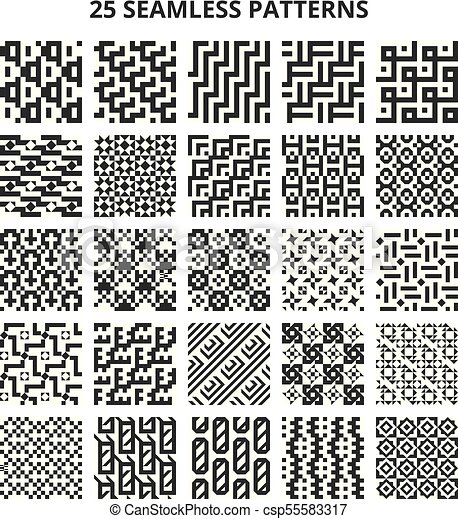 Monochrome Seamless Geometric Patterns. Abstract Fractal Geometrical Line  Vector Repetitive Borders