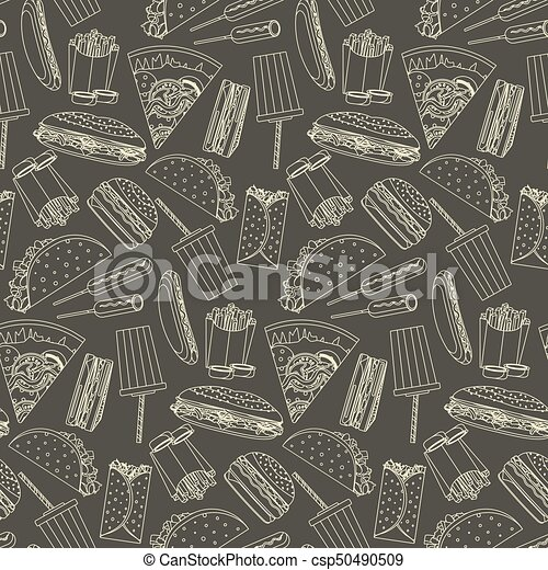 Monochrome seamless pattern with outline fast food symbols - csp50490509
