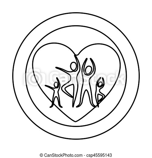 Monochrome Silhouette Of Double Circle With People With Healthy