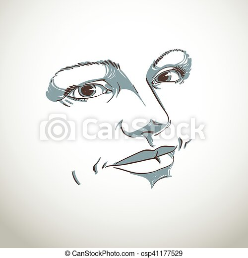 Illustration Visage monochrome silhouette of peaceful attractive lady, face features