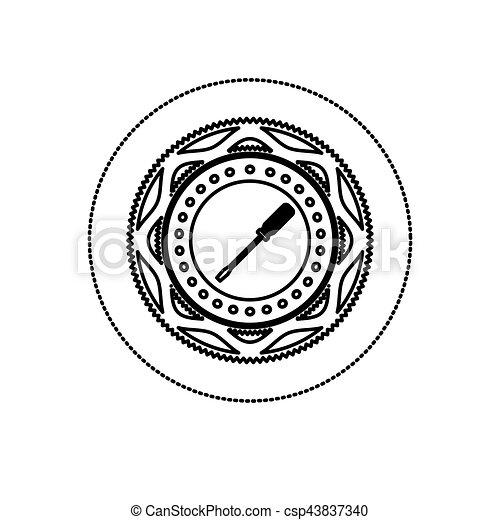 monochrome silhouette sticker with screwdriver between circular