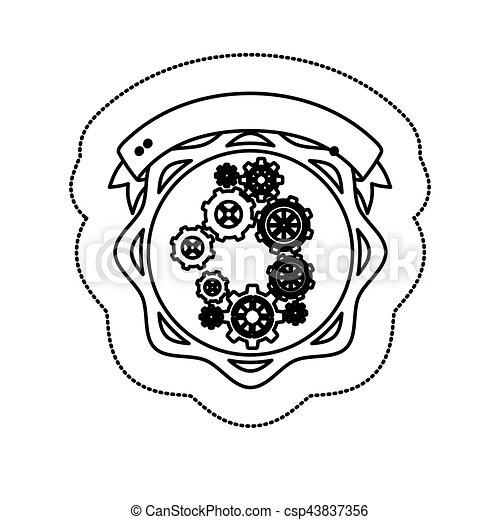 monochrome silhouette sticker with gear wheel between circular