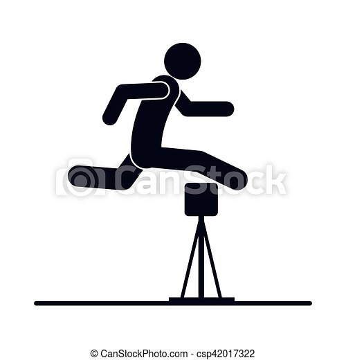 monochrome silhouette with athlete jumping hurdles vector illustration rh canstockphoto com hurdle race clipart hurdle clipart free