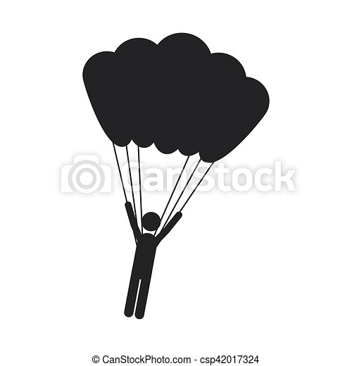 Monochrome Silhouette With Man Hanging In Parachute