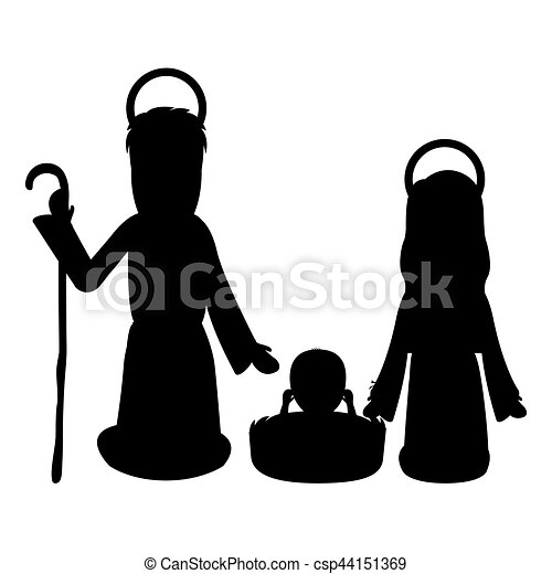 Monochrome Silhouette With Virgin Mary And Saint Joseph And Jesus In