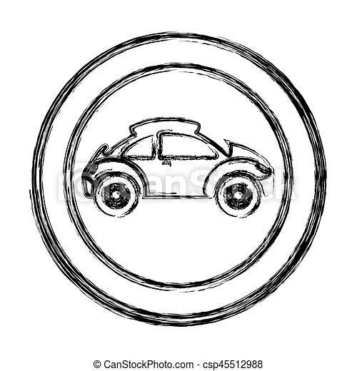 Monochrome sketch of circular frame with sports car in side view ...