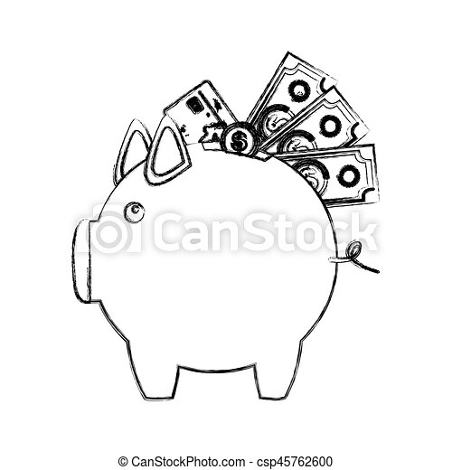 Monochrome Sketch Of Piggy Bank With Credit Card And Bills And Coins