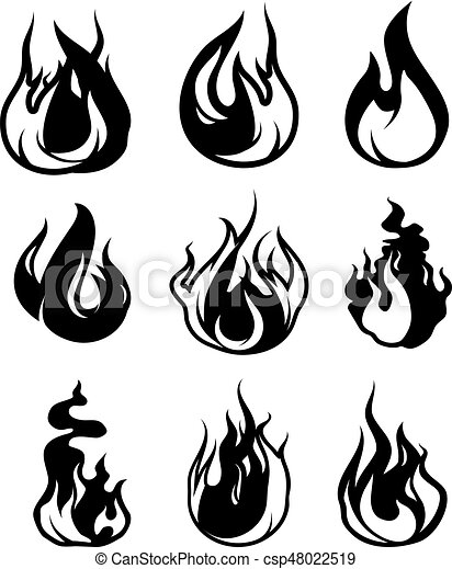 Monochrome Symbols Of Flame Vector Black Icons Isolate On White
