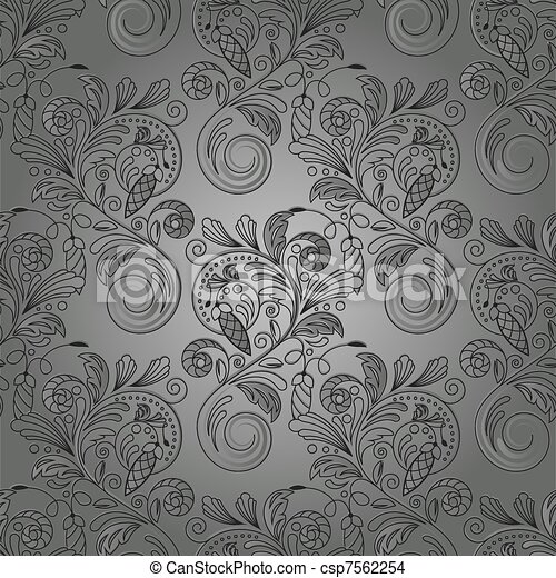 monochrome, vecteur, seamless, fond - csp7562254