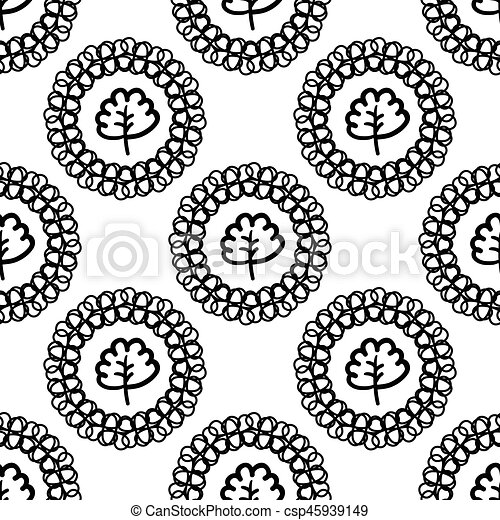 Monochrome vector background with abstract plants. - csp45939149