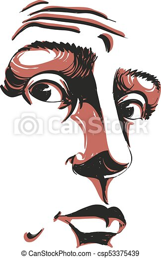 Monochrome vector hand-drawn image, surprised young man. Black and white illustration of shocked guy. Face features of guy - csp53375439