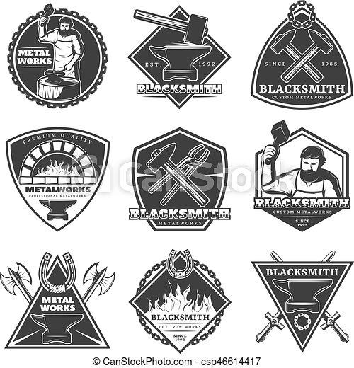 Monochrome Vintage Blacksmith Labels Set - csp46614417